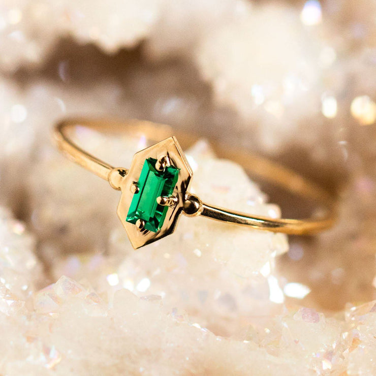 Lucky Elixir Ring with Green Emerald rings Nora Sermez