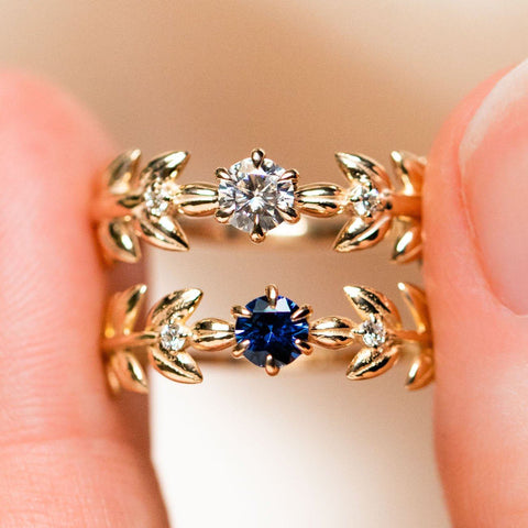 royal blue sapphire moissanite solid yellow gold 14k fine floral inspired ring
