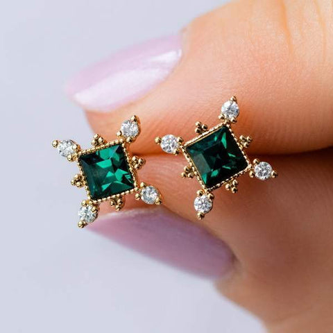 Sierra Gold stud earrings in emerald from Lover's Tempo