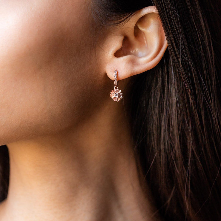 Peony Dangle Hoop Earrings with CZ earrings Emi Conner