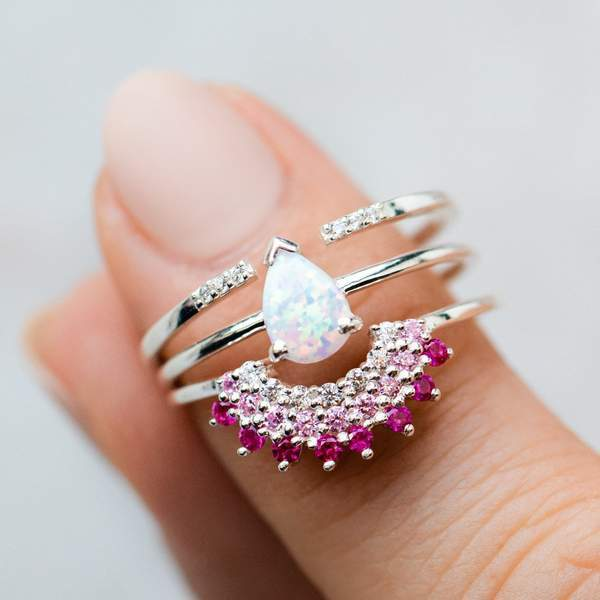 Opal & Pink Diamond Exotic Sunrise Stacking Ring Set