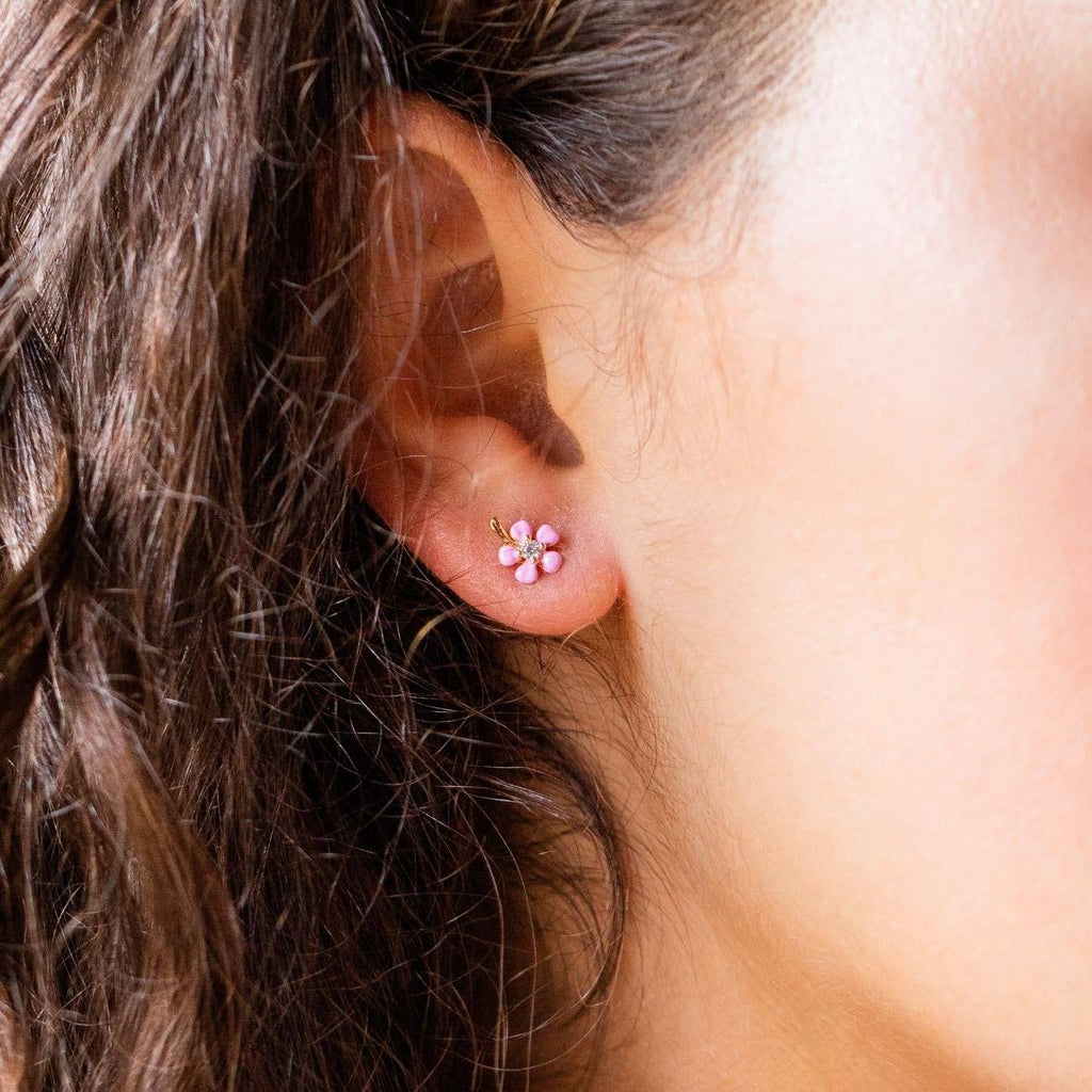 Pink Enamel Flower Stud Earrings