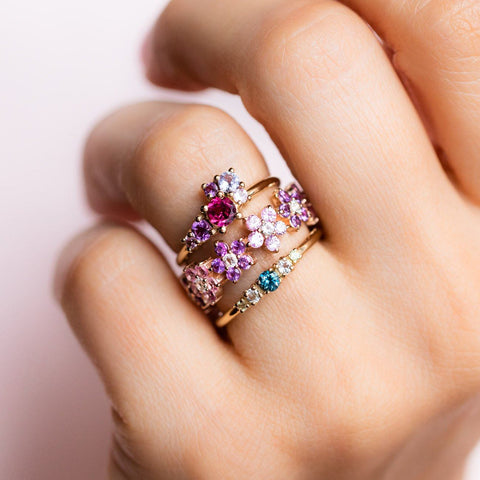 Fleur Amethyst and Pink Sapphire Band
