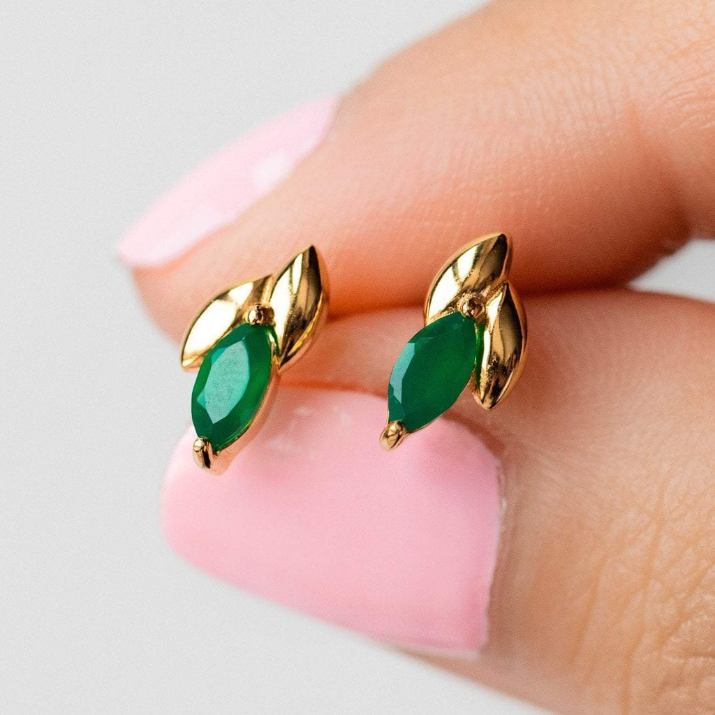 Local Eclectic - Laura Ear Studs in 18K Yellow Gold Vermeil with Green Onyx - Curious Creatures