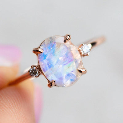 Rainbow Moonstone Ring with Diamonds rings Charlie and Marcelle