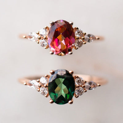 Rose Gold Anastasia Topaz and Diamond Gabriella Ring