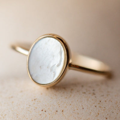 solid gold mother of pearl ring