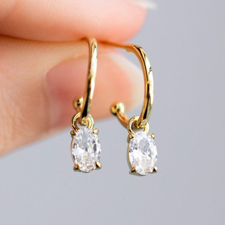 Gold CZ Emery Huggie Earrings earrings Melinda Maria