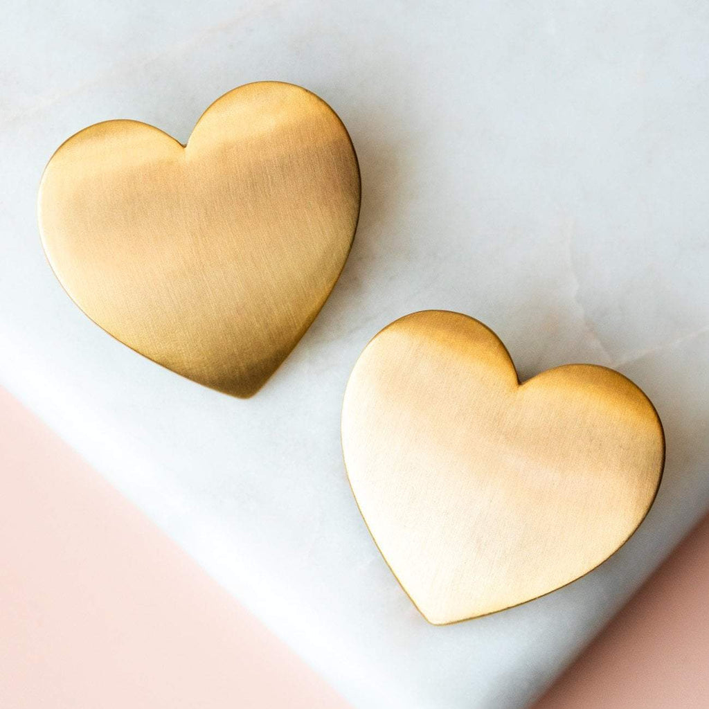 Flat Heart Statement Studs