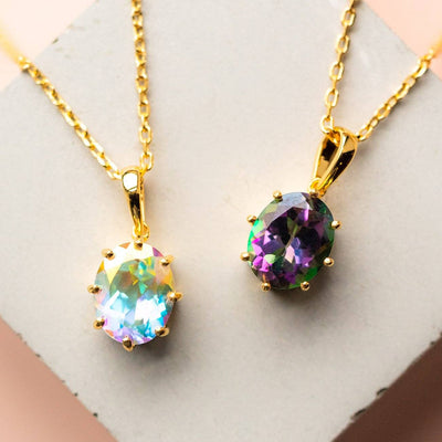 Mystic Topaz Necklace unique stone yellow gold jewelry modern simple classic