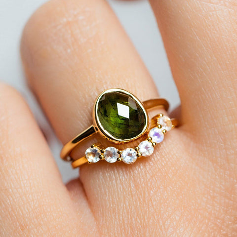 Green Tourmaline Statement Gold Ring