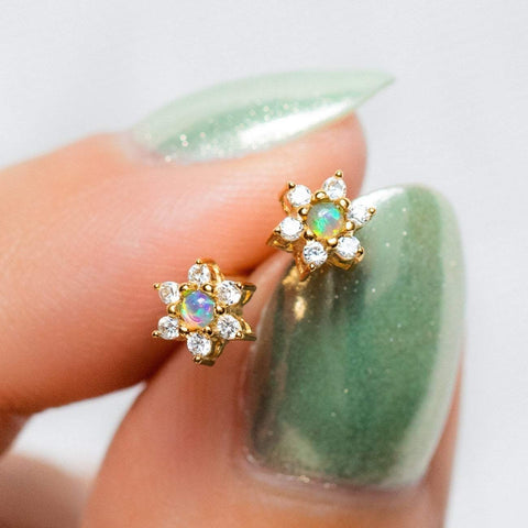 blue opal and diamond flower stud earrings
