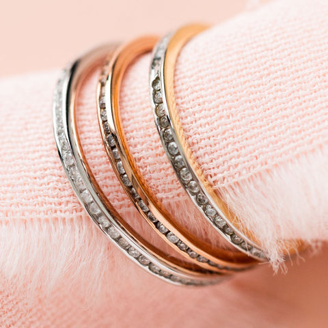 Solid Gold Rose Gold and Diamond band from local eclectic, unique wedding band