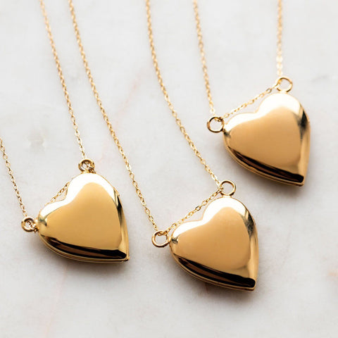 Shiny Gold Locket Necklace