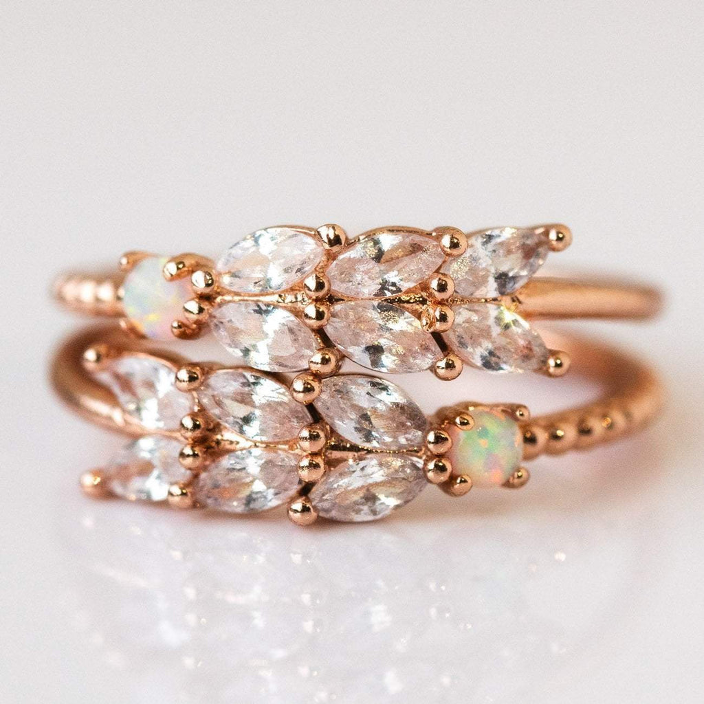 opal and cz rose gold ring