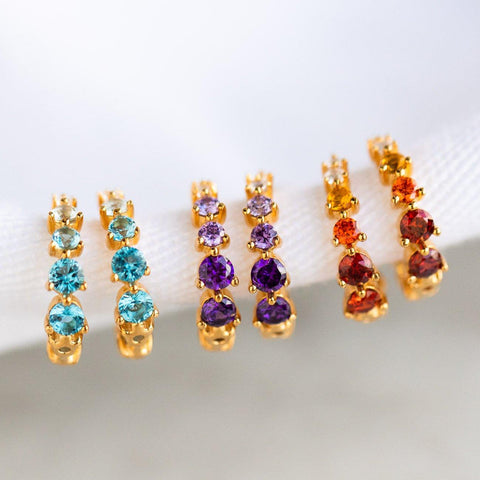 Dainty Ombre Birthstone Earring Tai Jewelry Crystal Gemstone