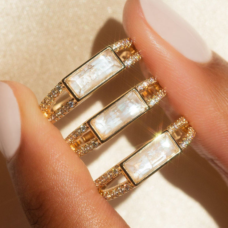 Double Band Cracked Mother of Pearl Ring rings Elizabeth Stone