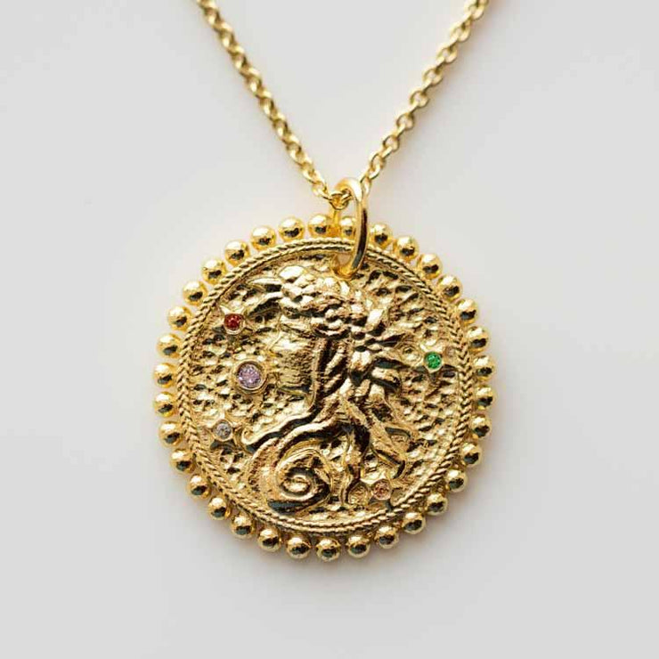 The Essential Zodiac Pendant Necklace unique personalized yellow gold personalized jewelry virgo