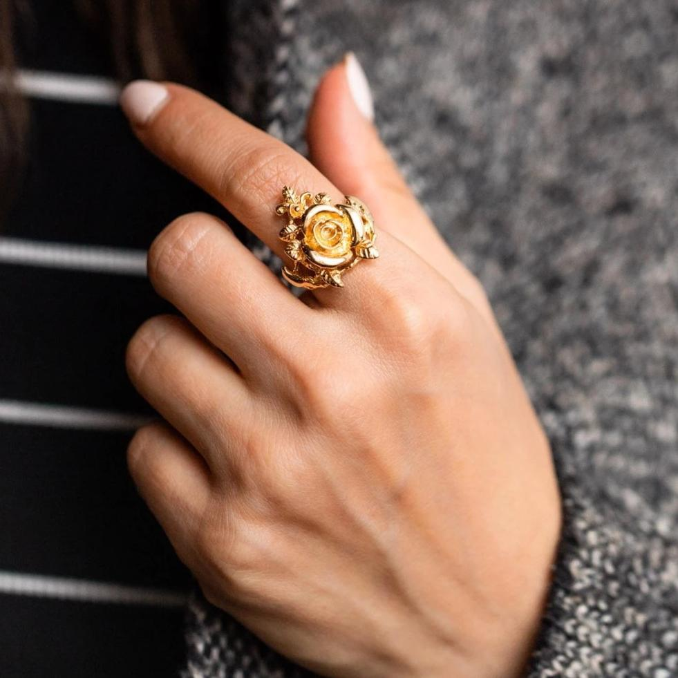 Statement Yellow Gold Rose Leaf Floral Inspired Ring Jurate