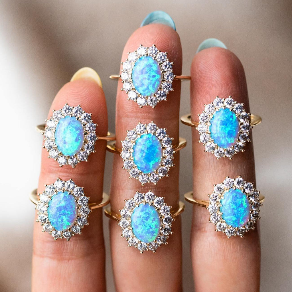 blue opal cocktail ring