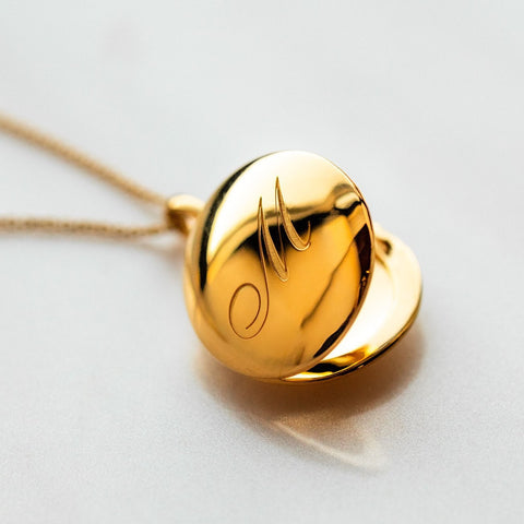 Initial Necklace Pendant Yellow Gold Locket Personalized Jewelry