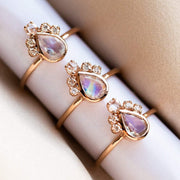 Pear Moonstone Crown Ring in Rose Gold rings Charlie and Marcelle