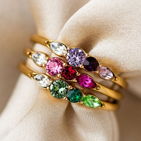 Dainty Princess Birthstone Ring in Gold