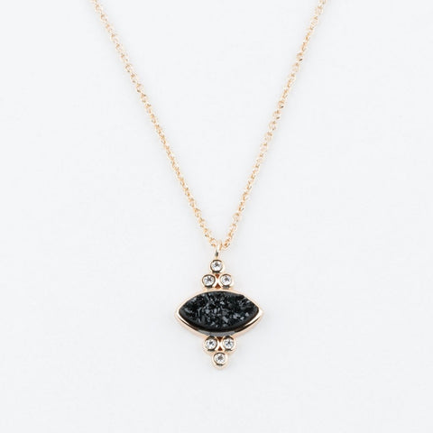 Gemstone Eye Pendant Necklace with Black Druzy - necklaces - Elizabeth Stone local eclectic