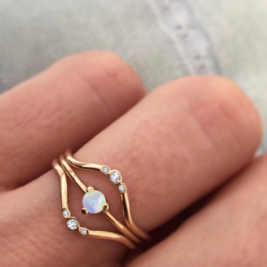 14K gold diamond arc ring - local eclectic  - 12