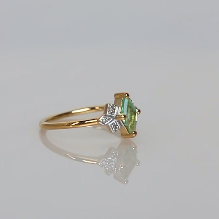 Dec Gemstone Ring in Mint Kyanite and Diamond yellow gold vintage inspired carrie elizabeth jewelry