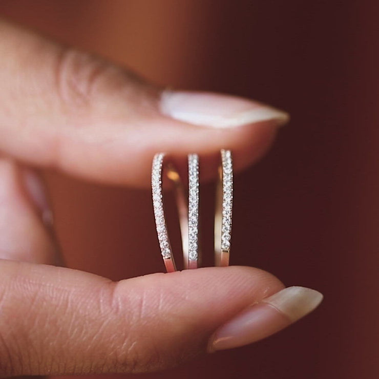 Solid Gold Simple Pave Diamond Band