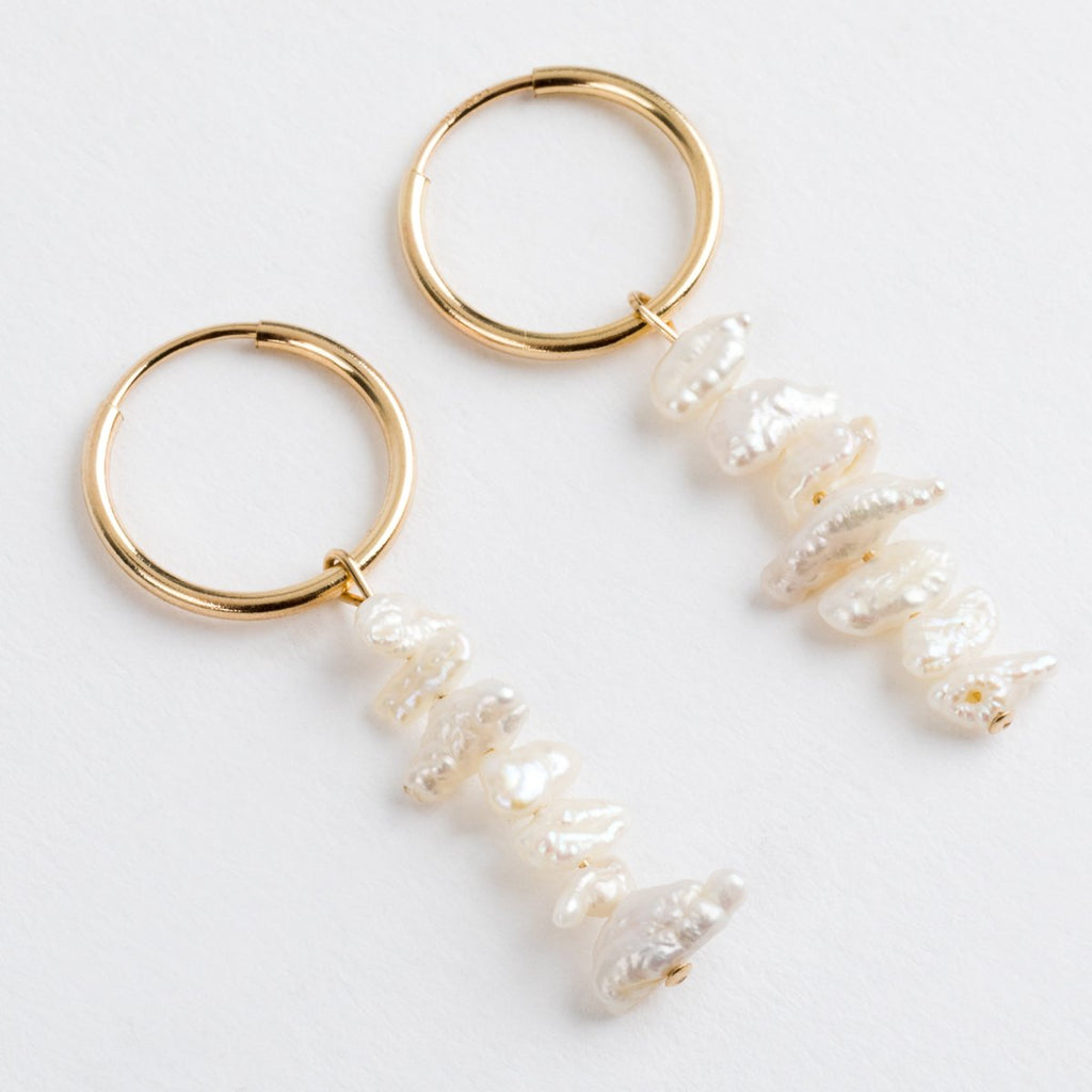 Coral Pearl Hoops - earrings - Above Average Studio local eclectic