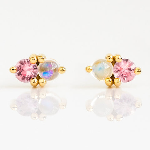 Pink Sapphire & Rainbow Moonstone Charmer Stud Earrings - earrings - Aletheia & Phos local eclectic