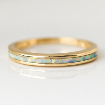 Solid 14K Gold Ring with White Opal Inlay Amarilo Jewelry