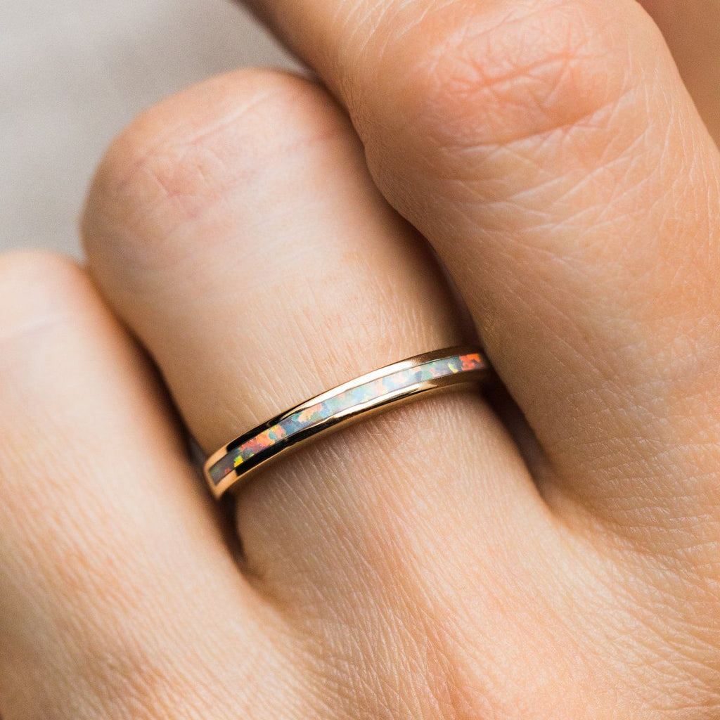 Solid 14K Gold Ring Stacking Ring with White Opal Inlay