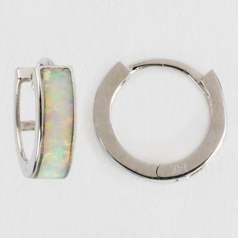 4mm Mini Opal Hoop Earrings in White Gold - earrings - Amarilo Jewelry local eclectic