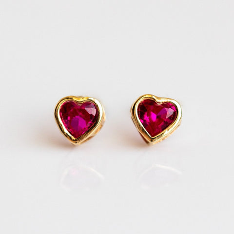 Local Eclectic - 14K Yellow Gold Ruby Stud Earrings - Amarilo