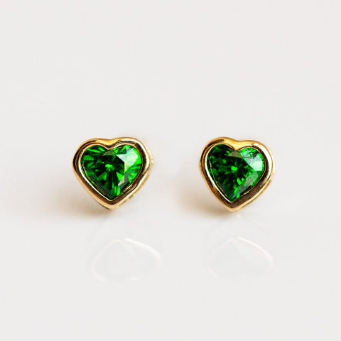 Heart Studs in Emerald