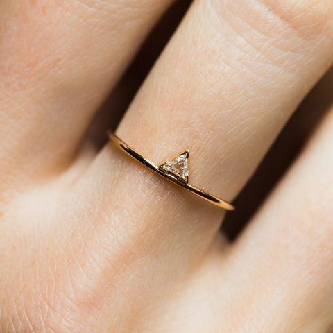 Local Eclectic - 14K Yellow Triangle Diamond Ring - A.M. Thorne