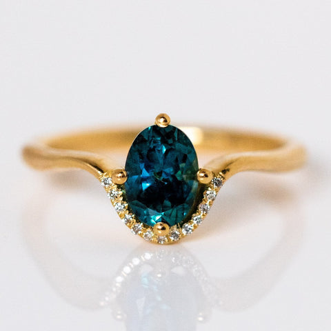 Oval Teal Sapphire Diamond Crown Solid Yellow Gold Fine Jewelry Artemer