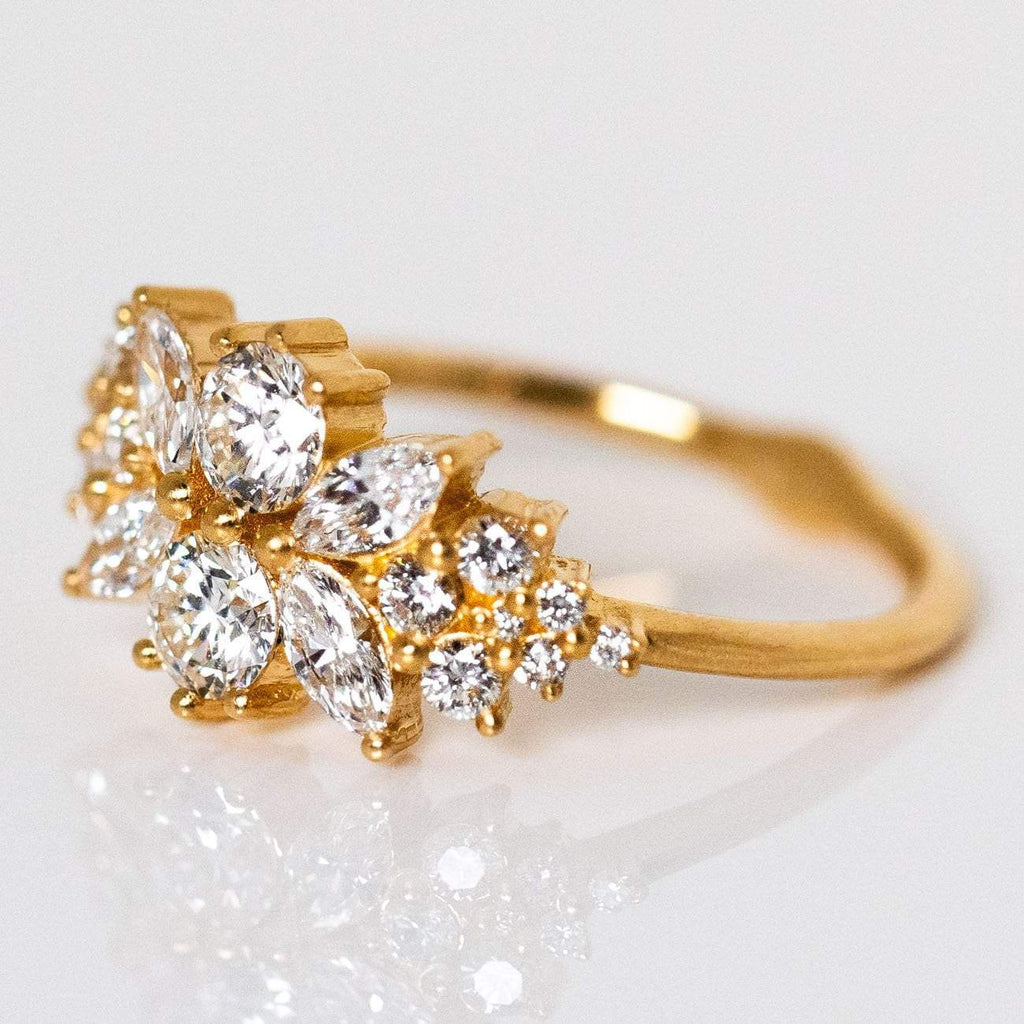 Round Natural Conflict Free Diamond Ring Solid Yellow Gold Fine Jewelry Artemer