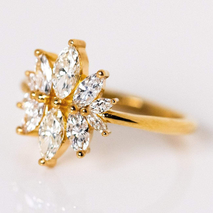 Mirror Engagement Symmetrical Marquise Diamond Unique Engagement Solid Gold Ring