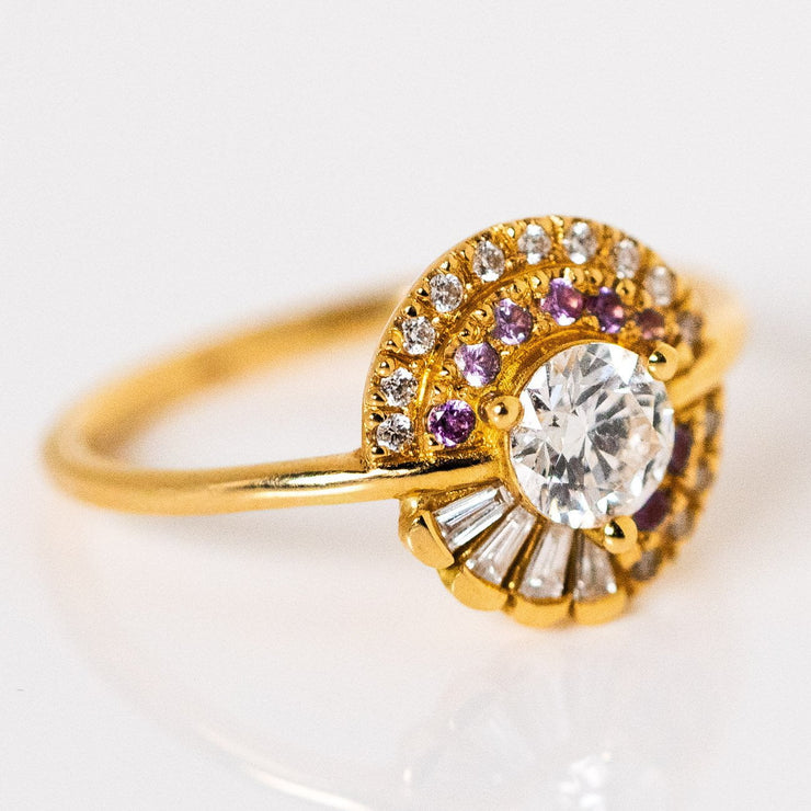Natural Diamond Sapphire Round Solid Yellow Gold Engagement Ring Artemer