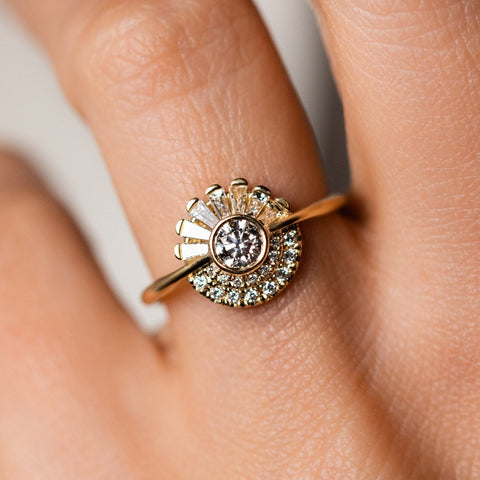 Round Diamond Cluster Engagement Ring Unique Solid Yellow Gold Jewelry Artemer