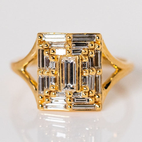 Baguette Diamond Temple Geometric Solid Yellow Gold Statement Ring Artemer