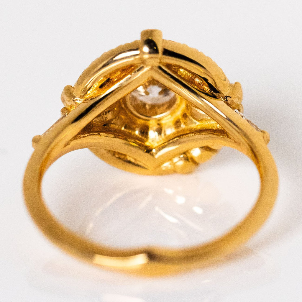 Diamond Solid Yellow Gold Ring Asymmetric Frills Cluster Statement Artemer