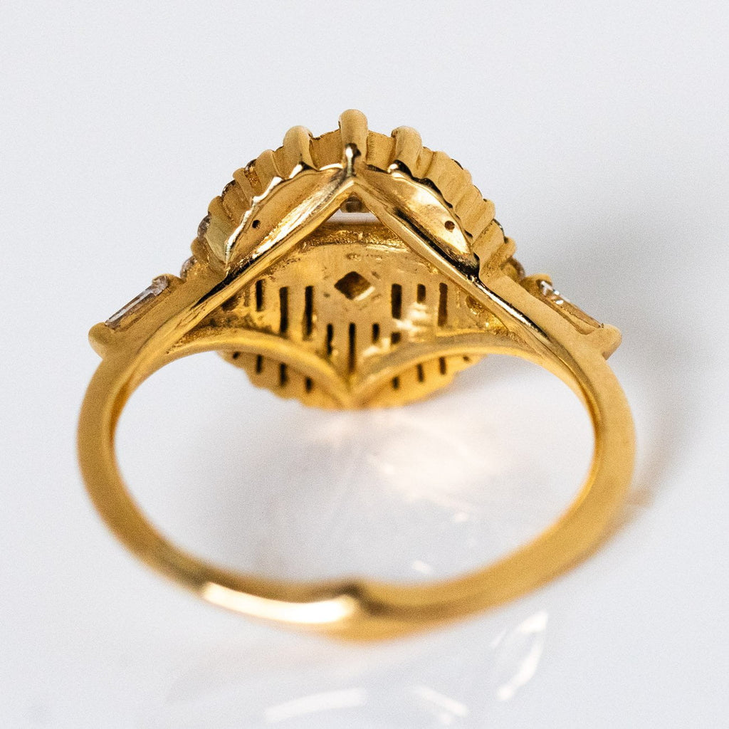 Aztec Temple Half Moon Diamond Solid Yellow Gold Fine Statement Ring Artemer