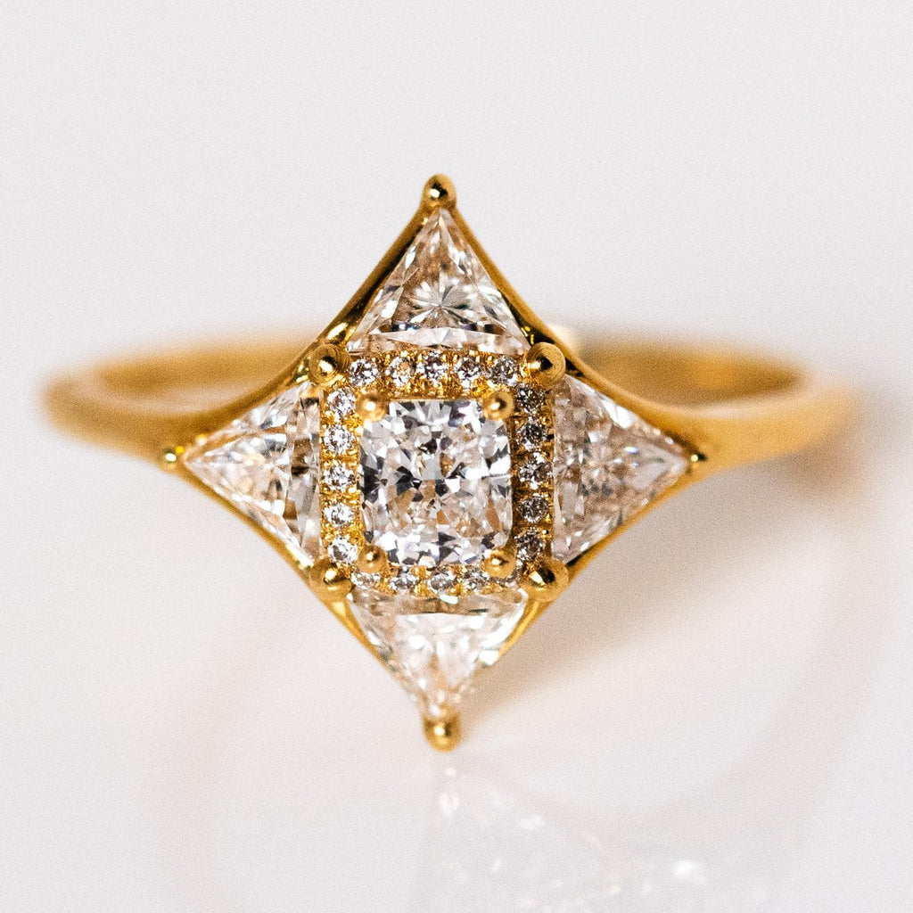 Trillion Cut Shield Ring Solid Yellow Gold Fine Diamond Ring Artemer
