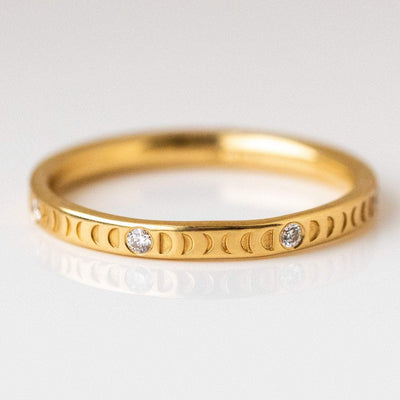 18k solid yellow gold moon phase ring full moon diamonds engraved band