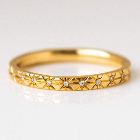 Solid yellow gold diamond star engraved wedding bands intricate unique jewelry